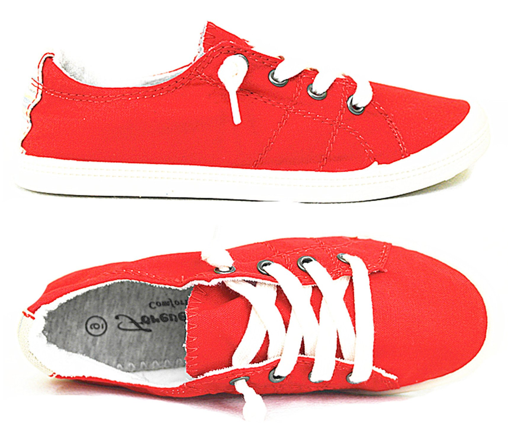Forever Link Comfort Women's Lace up Casual Street Sneakers Flat Shoes (10, Red-01)