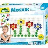 Lena 35602 - Steckspiel Mosaik Set mit 80 transparent farbigen Mosaikstecker, je 15 mm und Stiftplatte 21 x 16 cm, Mosaikspiel zum Stecken für Kinder ab 3 Jahre, Steckmosaik mit Vorlagen für Steckbilder mit Motiven von Tieren, Blumen und Fahrzeuge