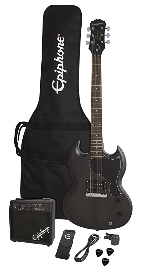 Epiphone PPEG-EGGJWKNH3-US SG-Junior Player Pack, Worn Black