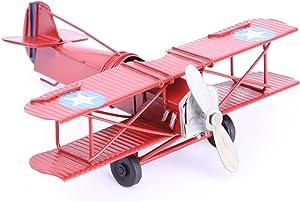 Berry President Vintage Retro Wrought Metal Iron Biplane Plane Aircraft Handicraft Models - Photo Props Home Decor/Ornament/Souvenir (Red)