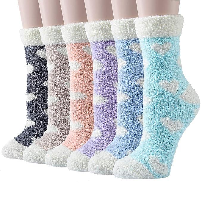 best loved latest discount sale retailer Panvbo 6 Pairs Fuzzy Socks for Women, Winter Warm Super Soft Cozy Fluffy  Plush Home Slipper Socks, Love Heart Patterned