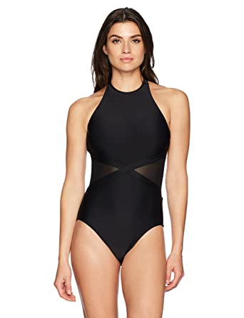 b132cfbe413 Amazon.com: Coastal Blue Women's Swimwear Mesh Side One Piece Swimsuit:  Clothing