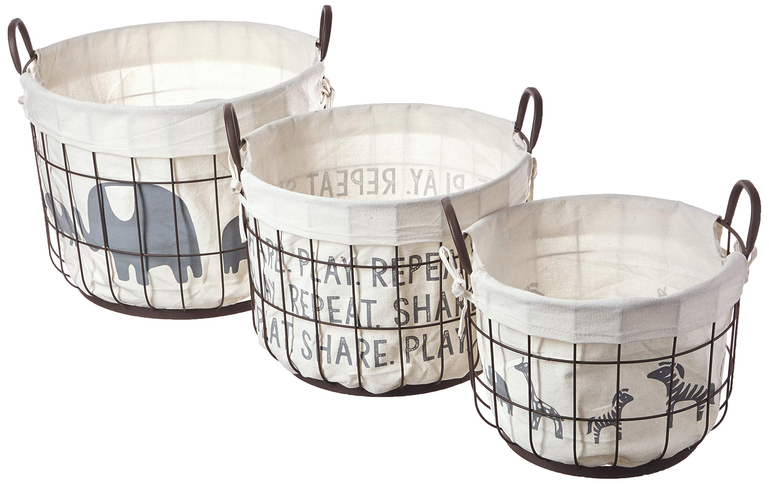 Mud Pie Rustic Vintage Inspired Nesting Set of 3 Storage Baskets Nursery Decor, Off White