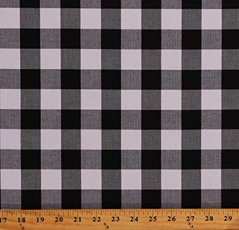 Black white mini checkered Gingham fabric good for cut sew print /& embroidery projects ships from LA