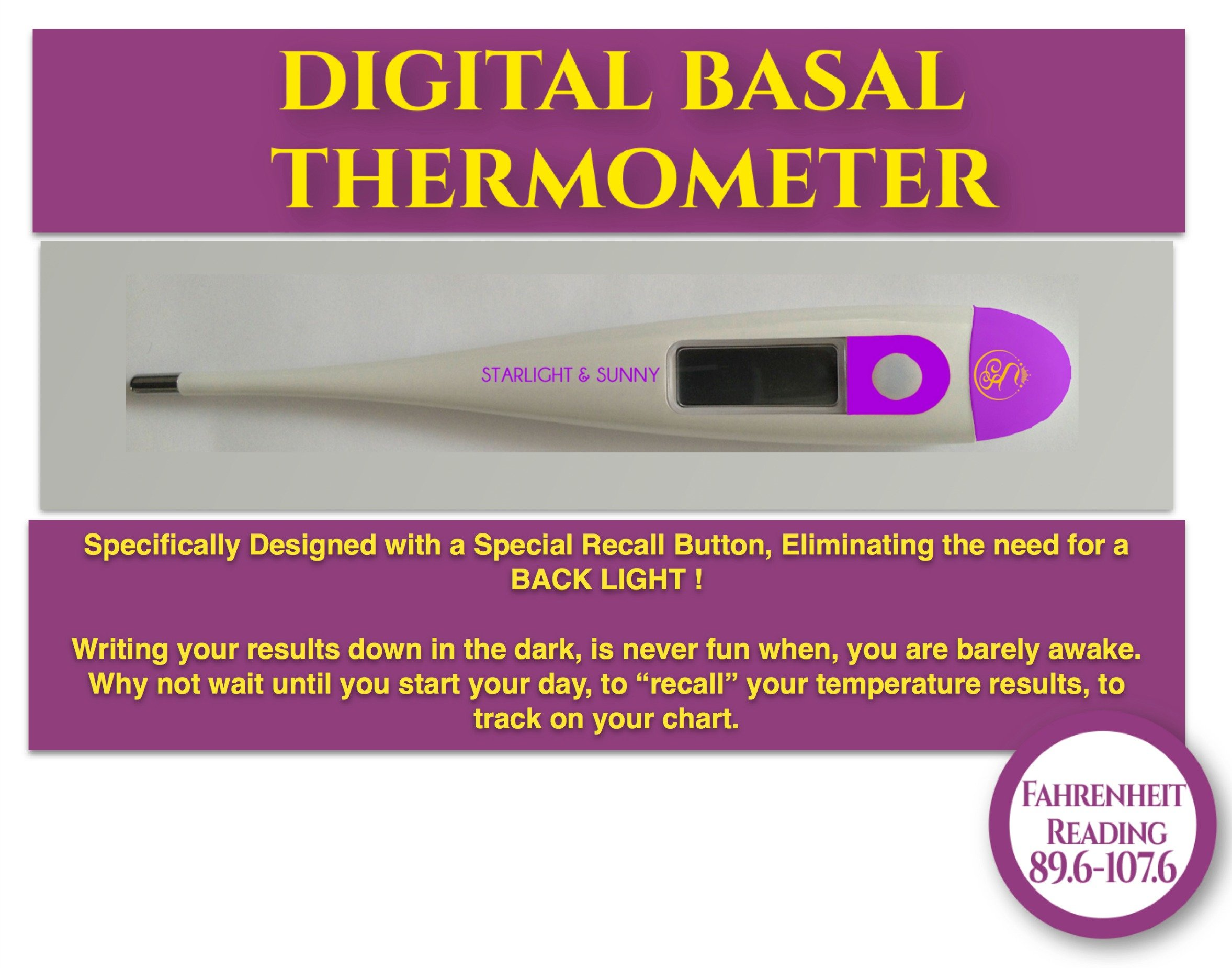 Starlight and Sunny Basal Thermometer Waterproof, 1/100th° Highly Sensitive, Perfect Companion for Ovulation, Fertility Calculator for Body Temperature to Become a Pregnant Woman