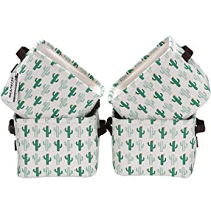 Sea Team Collapsible Square Mini Size Canvas Fabric Storage Bins Shelf Baskets Organizers for Nursery Kids Room, Set of 4 (Cactus)