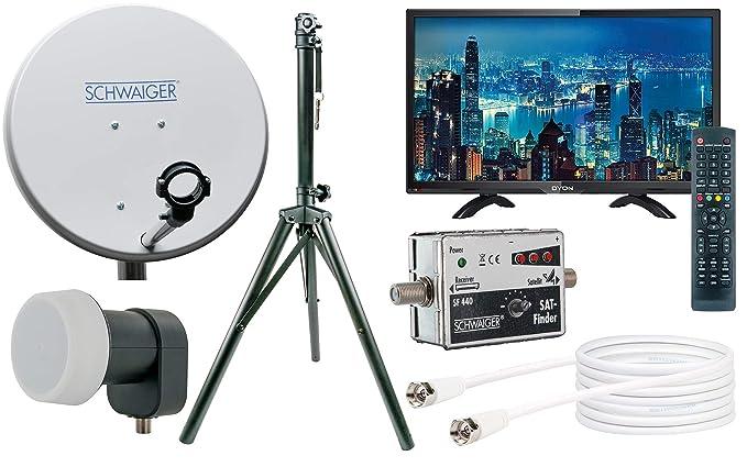 SCHWAIGER -TVSET- Camping-Sat-Anlage digital komplett / Camping Satelitenschüssel / TV / Satelliten-Schüssel mit Single LNB /