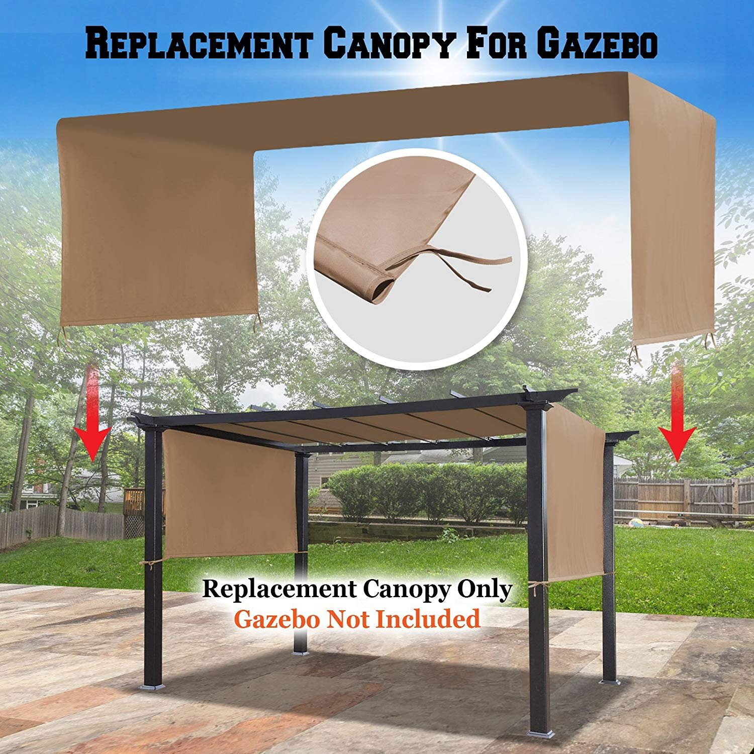 BenefitUSA G260 Universal Replacement Canopy Top Cover for Pergola Structure (18' L x 8.3' W)