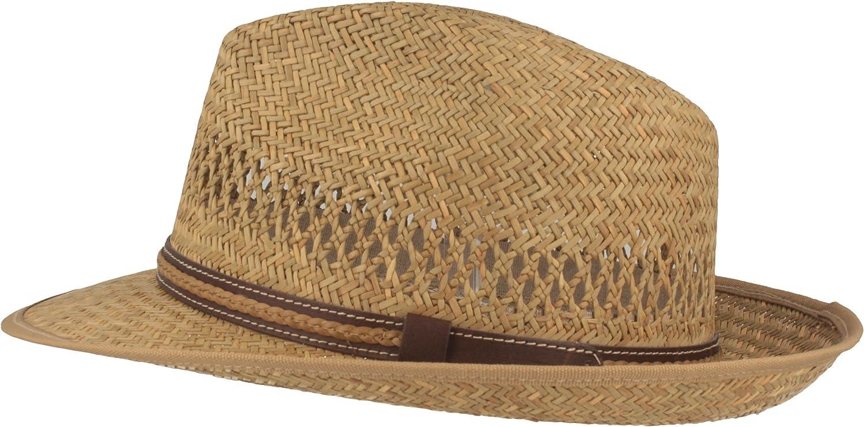 Especialmente ligero y flexible Sombrero de paja sombrero de verano sombrero para el sol 100/% de Raffia con piel sint/ética Fabricado en Italia