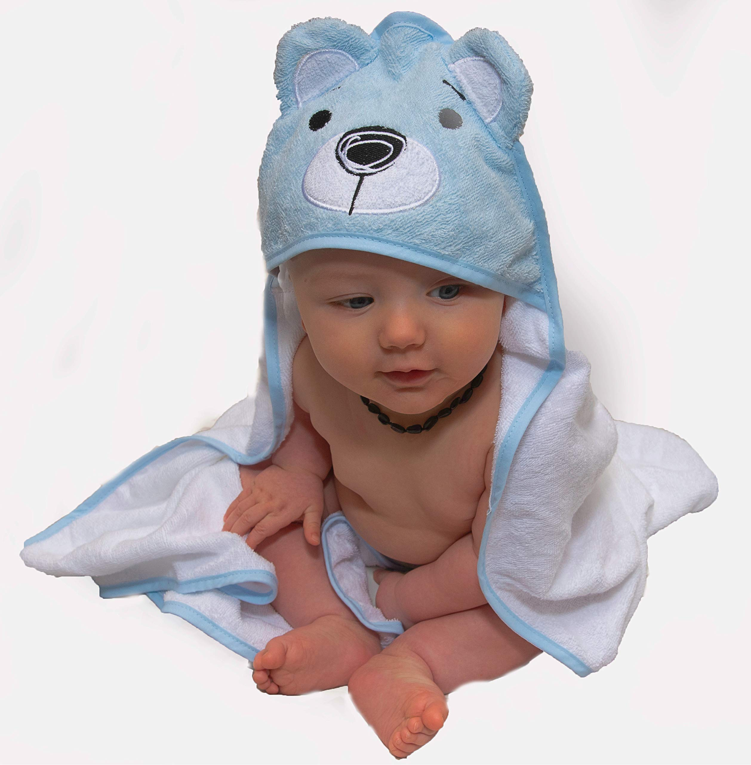Blue Bear Hooded Baby Towel with 100/% Soft Cotton for Boys and Girls Baby Towel Cute 3D Animal Baby Bath Towel Extra Soft Hooded Towels for Baby Perfect Baby Gifts and Baby Towels
