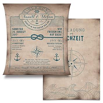 Hochzeit Einladungskarten (20 Stück)   Schatzkarte Als Flaschenpost    Seemann Anker Einladung