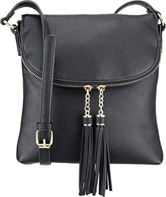 B Brentano Vegan Medium Flap Over Crossbody Handbag With Tassel Accents by B Brentano
