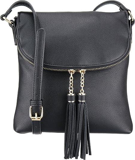 f17cfc5f5cac B BRENTANO Vegan Medium Flap-Over Crossbody Handbag with Tassel Accents ( Black.)