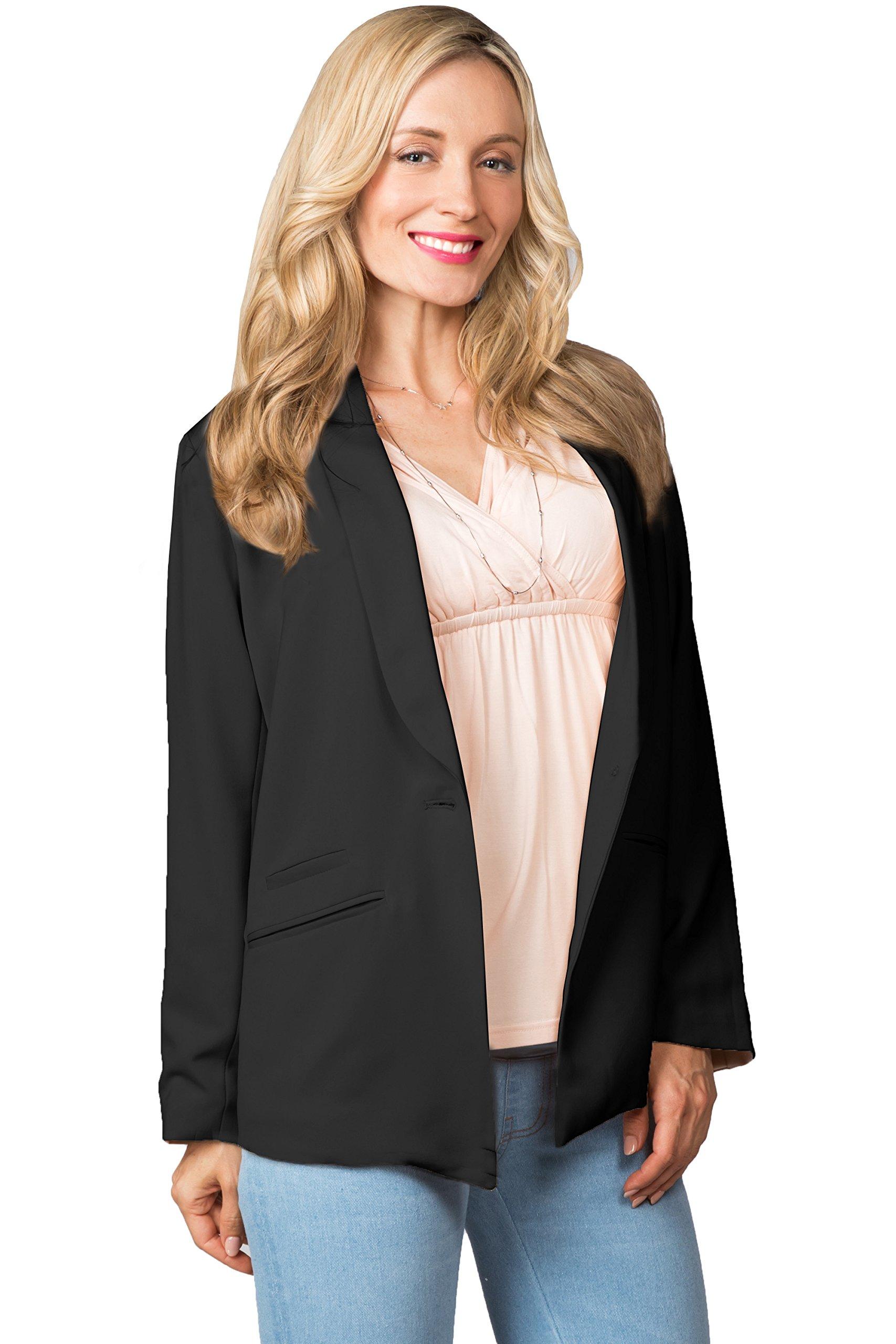 Sweet Mommy Maternity Blazer Jacket with Waist Tie Black L