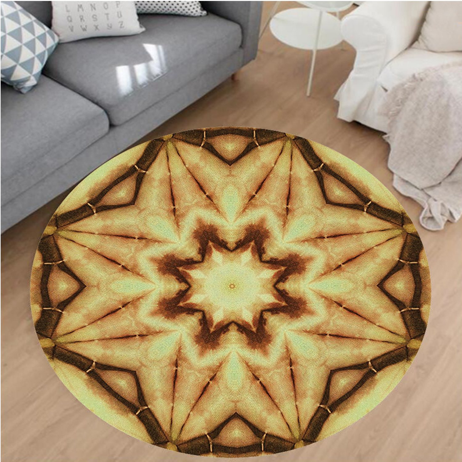 Nalahome Modern Flannel Microfiber Non-Slip Machine Washable Round Area Rug-r Trippy Ethnic Thai Mandala Motif with Dirty Grunge Smear and Rough Stains Mustard Brown area rugs Home Decor-Round 71'' by Nalahome