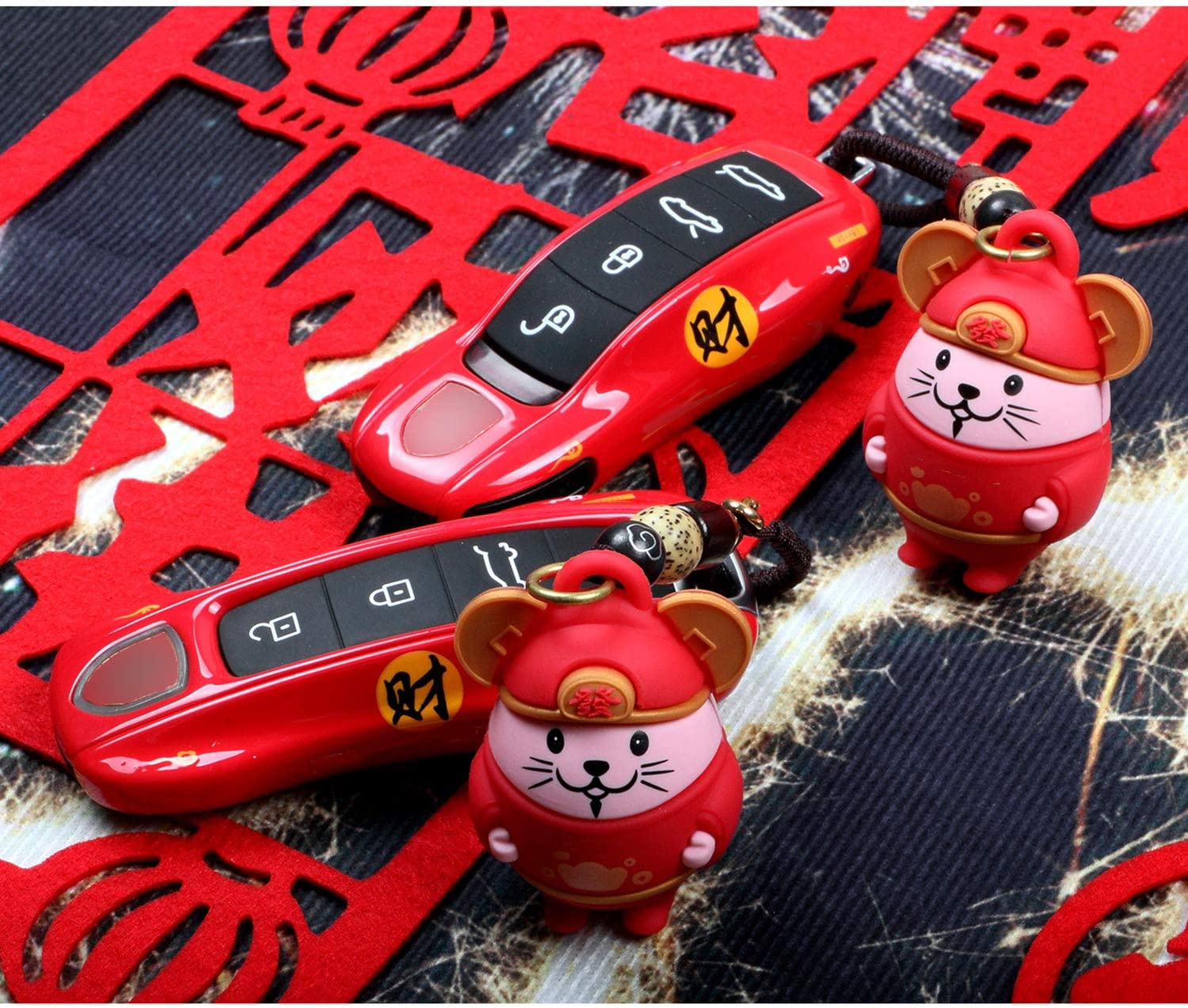 Atype Kwaks Car Key Case Compatible for Porsche Panamera 971 Cayenne 9YA Macan 911 718 Boxster Red Key Holder with 2020 New Year Rat Key Chain