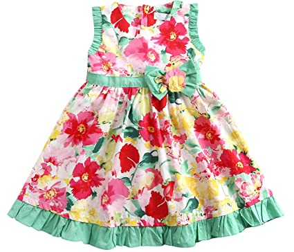 68ef55e64a23 Sharequeen Summer Casual Girls Dress Big Rose Ruffle 3D Flower Printing  Kids Holiday Dresses 6 Years