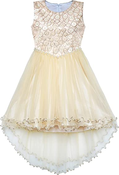 Girls Dress Diamante Champagne Multi-layers Wedding Occasions Pageant Size Age