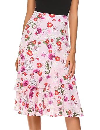 20b083ac47 Zeagoo Women's Chiffon High Waist Floral Print Slim Ruffles Midi Mermaid  Skirt, Pink, XX