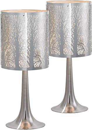 Modern Accent Table Lamps 19 High Set Of 2 Chrome Laser Cut Tree