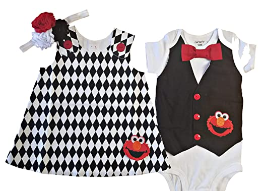Amazon Com Perfect Pairz Boy Girl Twin Outfits Elmo Set Usa Made
