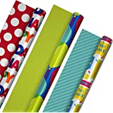 Hallmark Reversible Birthday Wrapping Paper Bundle (3-Pack: 75 sq. ft. ttl.) Balloons, Bright Green, Teal Stripes, White Polk