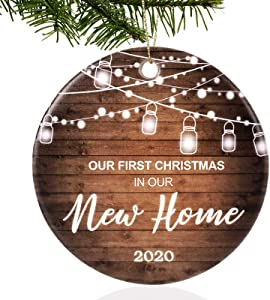 "UNSTTNA First Christmas in Our New Home Ornaments 2020 Our First Christmas New Home Married Wedding Decoration 3"" Ornament, Christmas Tree Decoration"