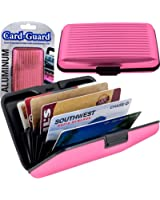Two Pack of Pink Aluma Wallets Indestructable Aluminum Sides Waterproof Female Wallet Pocket Credit Card Protection Case with Metal As Seen on Tv