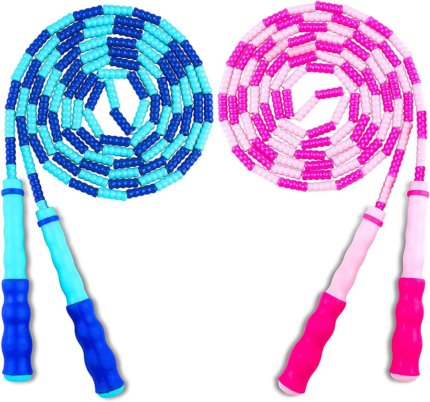 Training and Workout Premium Soft Beaded Skipping Rope Adjustable Tangle-Free Segmented Fitness Jump Ropes for Kids and Women Keeping Fit ANYJOY 2 Pack Jump Rope