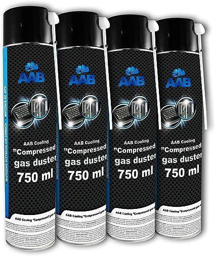 4 x AAB Spray de Aire Comprimido 750ml para Teclados, Ordenadores, Copiadoras, Cámaras, Impresoras, Efectividad Limpieza sin CFCs, Eliminación de ...