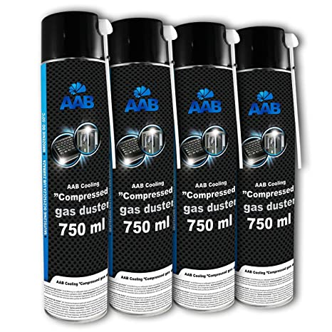 4 x AAB Spray de Aire Comprimido 750ml para Teclados, Ordenadores, Copiadoras, Cámaras