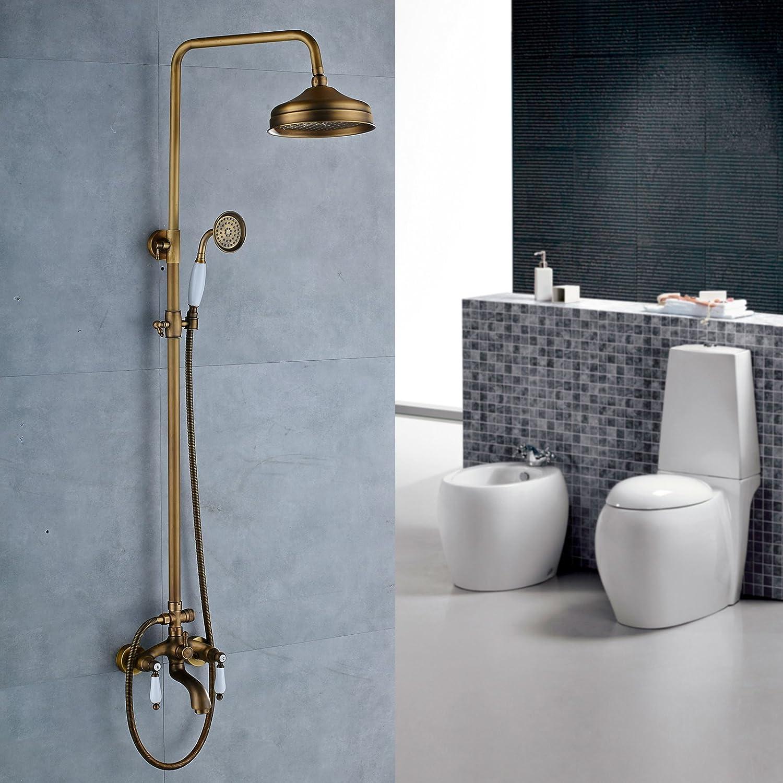 Votamuta Bathroom Rainfall Shower Faucet Set Wall Mounted Dual Cross ...