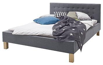 sette notti Polsterbett Bett 140x200 Grau, Bett mit Liegefläche ...