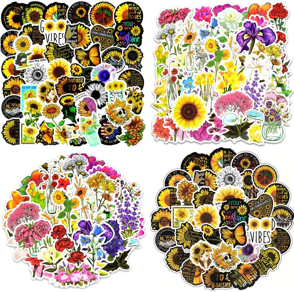 JTHRA 100PCS Sunflower Cute Vsco Stickers, Floral Themed Aesthetic Stickers for Water Bottles Laptop Phone Decal