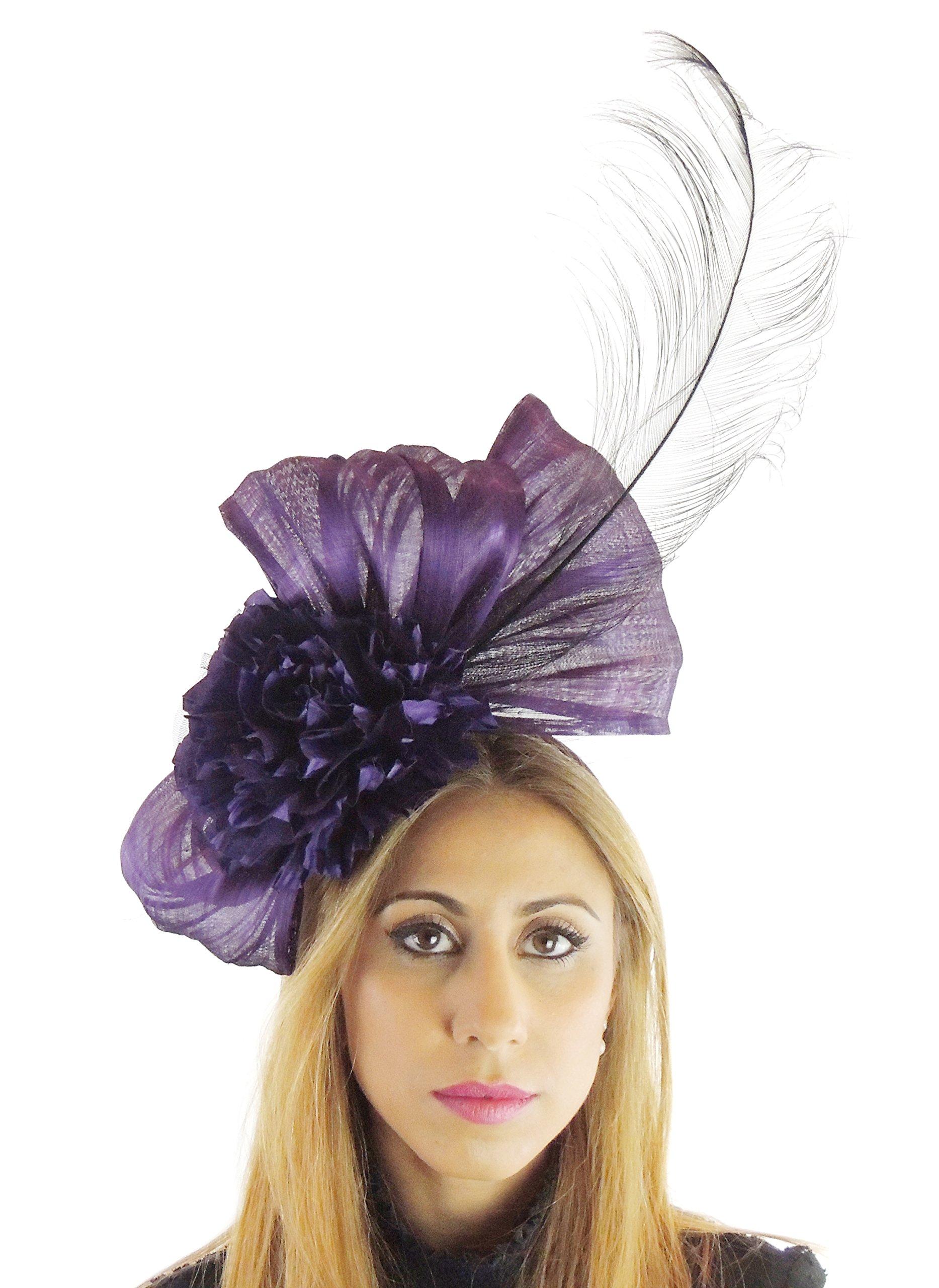 Hats By Cressida Silk Sinamay & Silk Flower Elegant Ladies Ascot Wedding Fascinator Hat Aubergine by Hats By Cressida