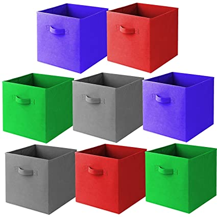Ordinaire [8 Pack,4 Colors] Foldable Storage Cubes With Dual Handle Shelves Baskets
