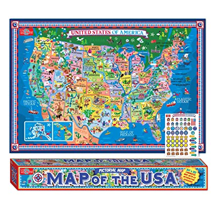 TS Shure Pictorial Map of The United States of America - Laminated Poster  with Interactive Stickers