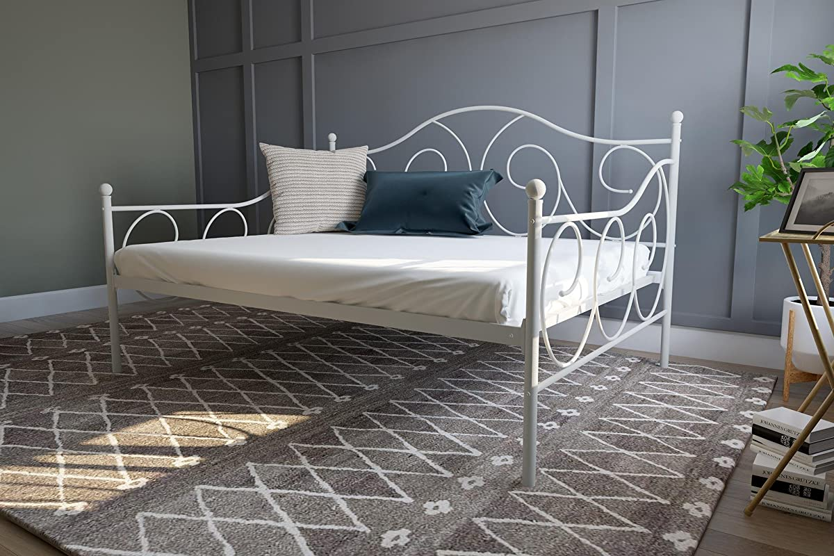DHP Victoria Daybed Metal Frame, Multifunctional, Includes Metal Slats, Full Size, White