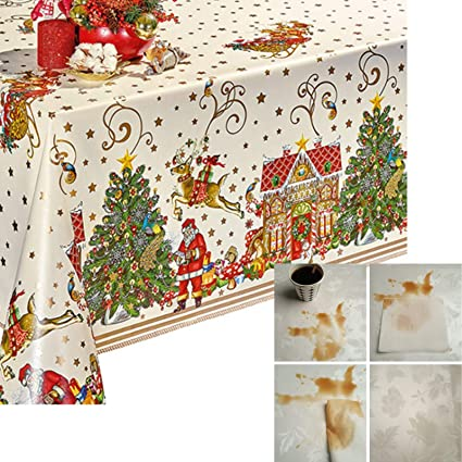 Decoser Heavy Duty Flannel Backed Vinyl Tablecloth Easy to Wipe-Clean Oil-Waterproof Plastic Rectangle 55x72 inch Table Cover for Christmas best Christmas tablecloths