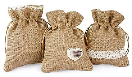 3 x Deko saquitos yute con plástico Punta y corazón marrón color blanco, 15,