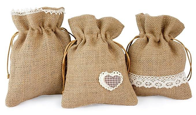 3 x Deko saquitos yute con plástico Punta y corazón marrón color blanco, 15,5 x 20 cm grande, yute Bolsa Bolsa de tela bolsa bolsitas en estilo rústico: ...