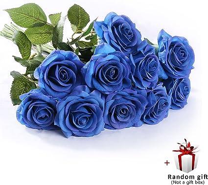Bouquet Sposa Rose Blu.Judy Artificial Flowers Roses 10 Pz Rose Da Sposa Bouquet Da Sposa