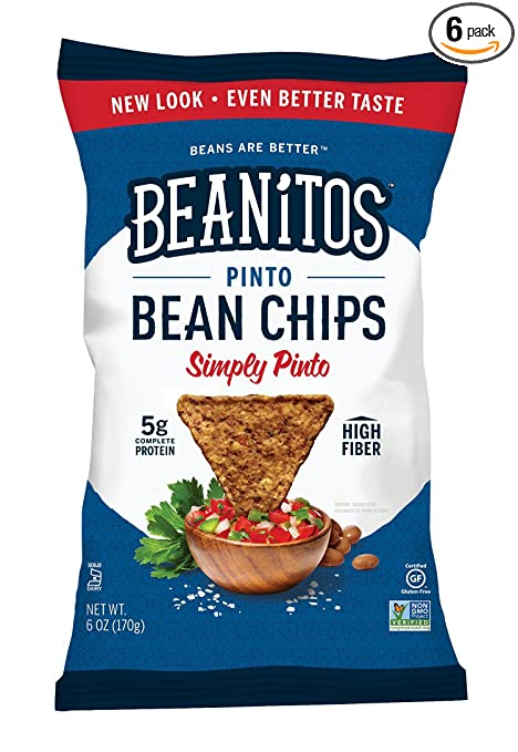 Beanitos Chips, Simply Pinto Bean with Sea Salt, 6 Ounce (Pack of 6)
