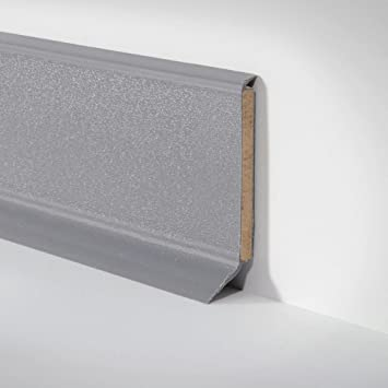 Kunststoff Leiste Sockelleiste Fussleiste Fur Pvc Und Designbelag Dunkel Grau 255cm X 60mm Amazon De Baumarkt