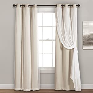 "Lush Decor Sheer Grommet Panel with Insulated Blackout Lining, Room Darkening Window Curtain Set (Pair), 84"" x 38"", Wheat"