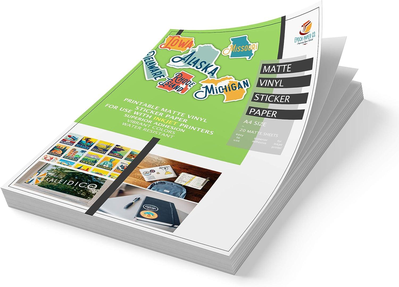 Epoch Paper Printable Vinyl Sticker Paper - 20 Matte White Vinyl Sticker Sheets for INKJET PRINTERS