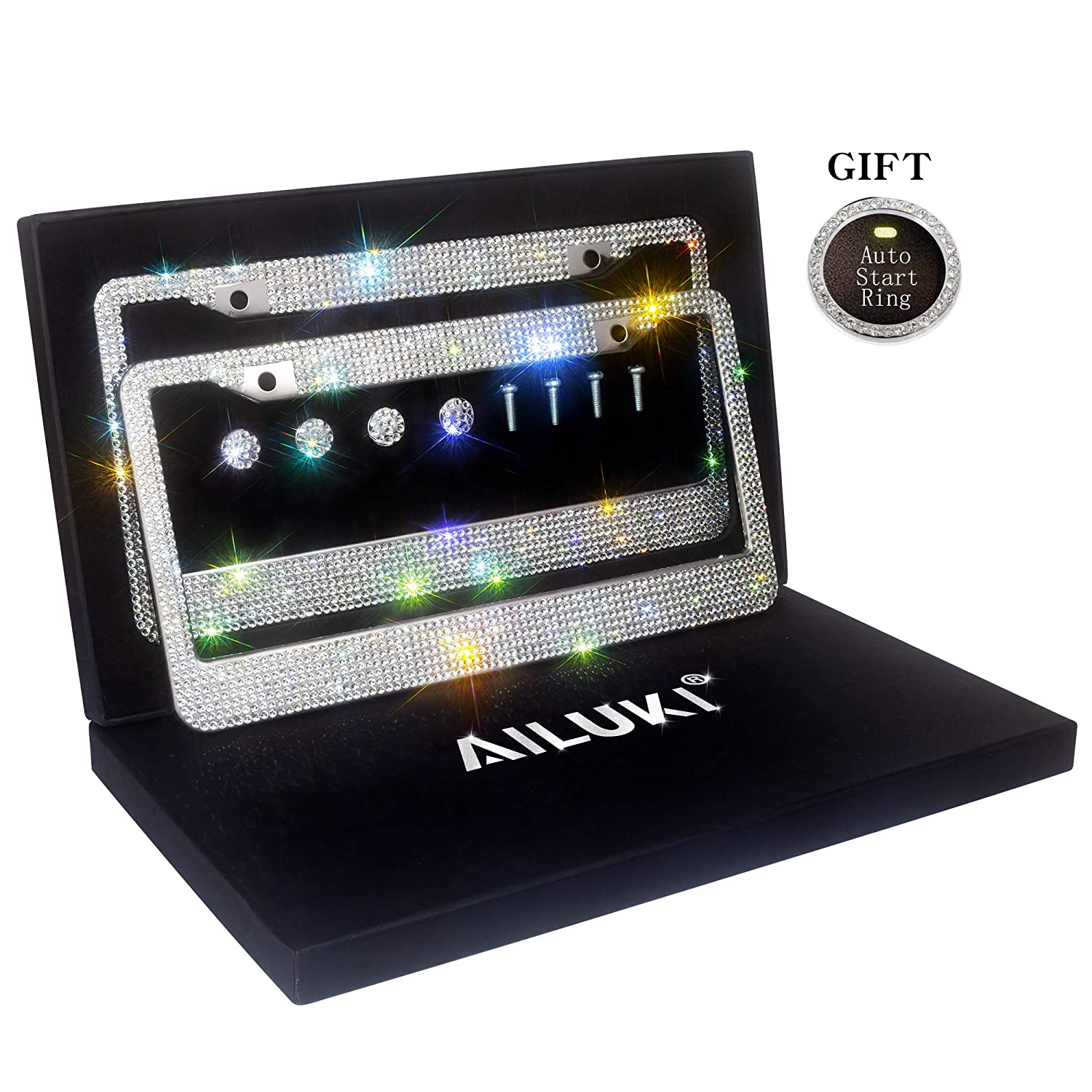 AILUKI License Plate Frame,2 Pack Luxury Handcrafted Rhinestone Bling License Plate Frames with Giftbox,1000 Pcs Finest 14 Facets SS20 Rhinestone Crystal,Anti-Theft Screw Caps,Auto Start Ring