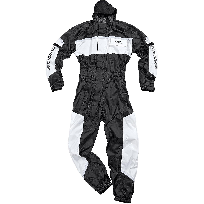FLM Motorradkombi Regenkombi Sports Regenkombi, 1-tlg. mit Membran, integrierte Helmkapuze, wasserdicht, winddicht, atmungsaktiv, diagonaler, langer Reiß verschluss, Schwarz/Weiß , S - XXL / 2XL