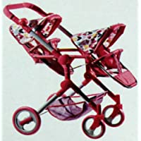"Lissi Doll Double Stroller, Fits 2 Dolls Up to 18"" Tall. 3 Adjustable seat Positions. Pink and White with Multicoloured Hearts."