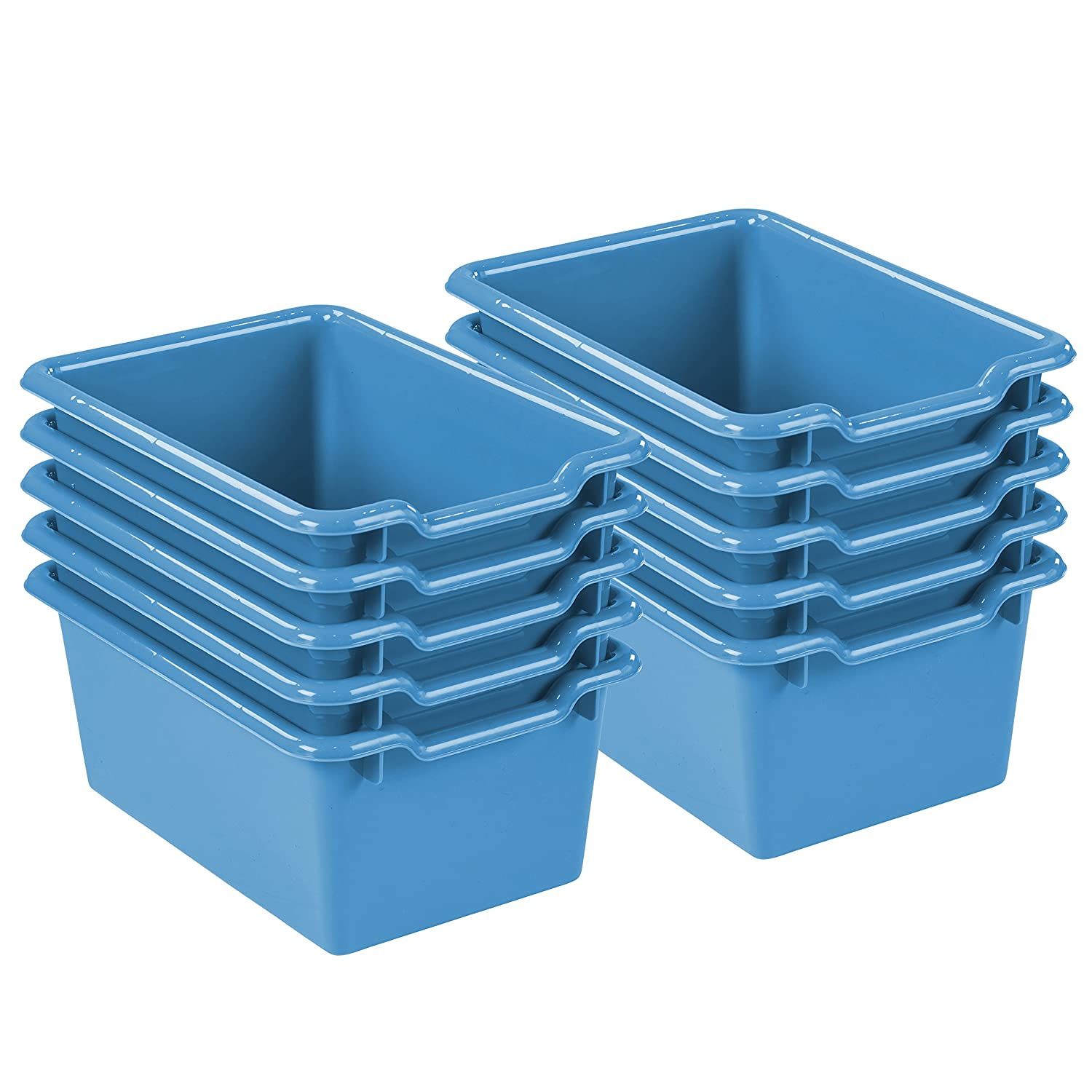 ECR4Kids Scoop Front Storage Bins, Chocolate (10-Pack) ECR4KIDS Education ELR-0482-CH